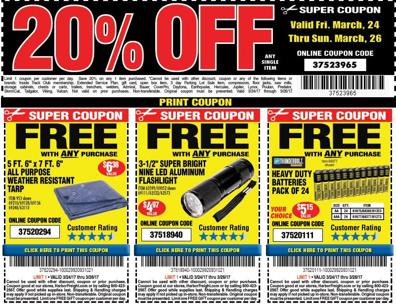 Harbor Freight Coupons for March 2017