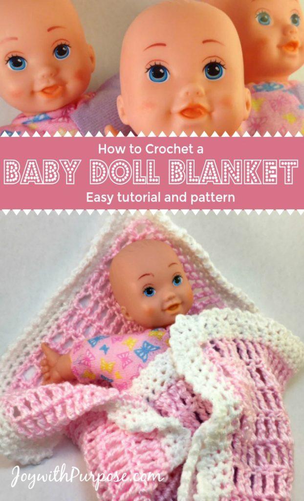 Easy crocheted baby doll blanket pattern