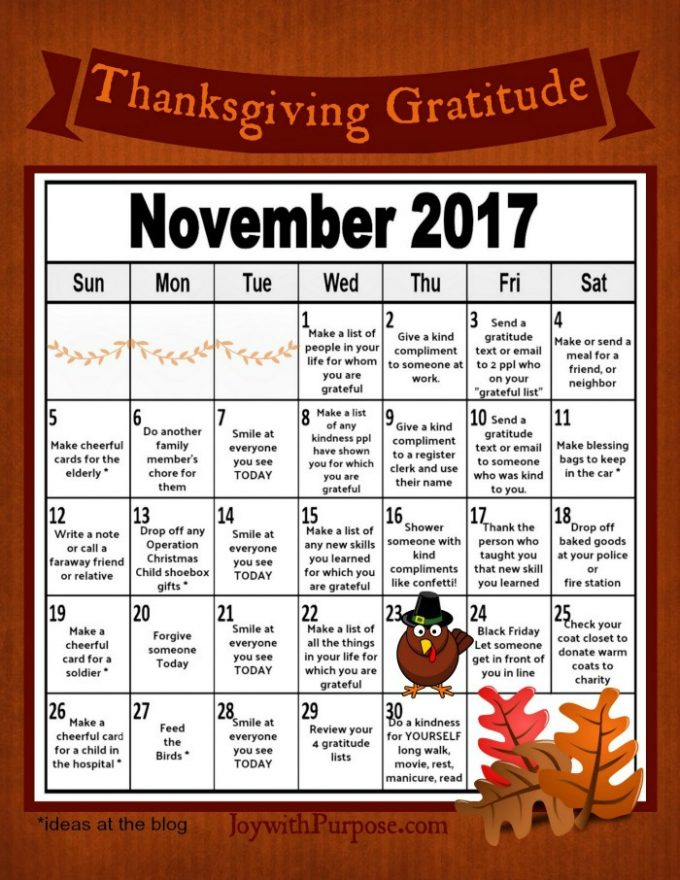 Thanksgiving Gratitude Calendar free printable for you