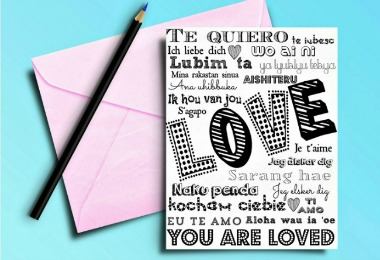 LOVE in 20 languages in a free printable card