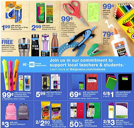 Walgreens shop for school deals now